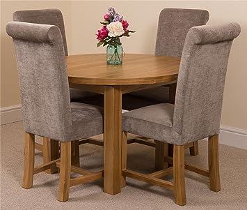 MODERN FURNITURE DIRECT Edmonton Extending Oval Solid Oak Dining Set