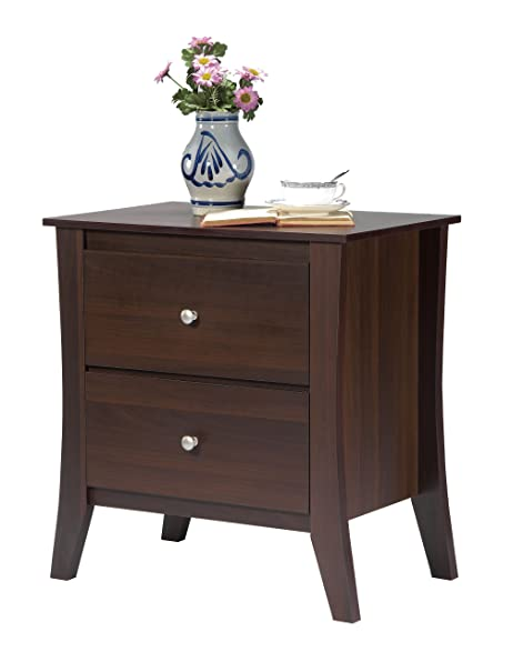 Amazon ioHOMES Carson 2 Drawer Nightstand Dark Walnut