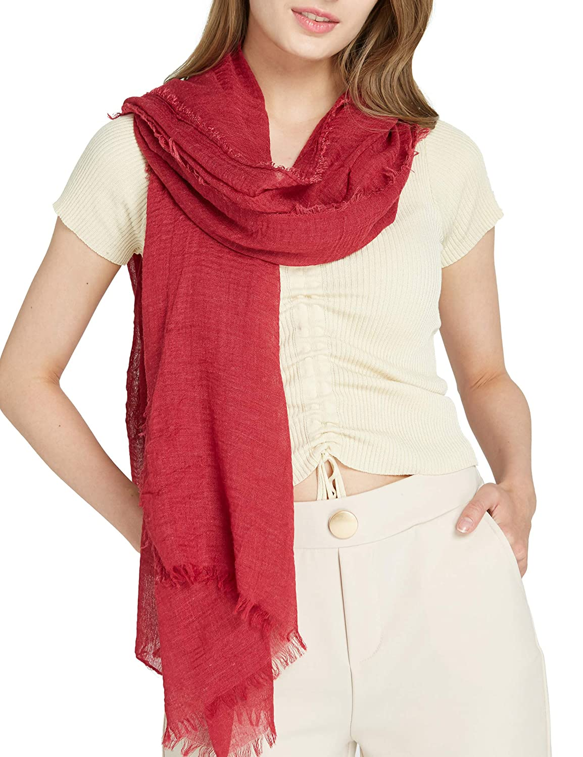 Long Plain Scarf Large Wrap for Women - Big Solid Crashed Wrinkle Soft Hair Scarf and Shawl 0820001