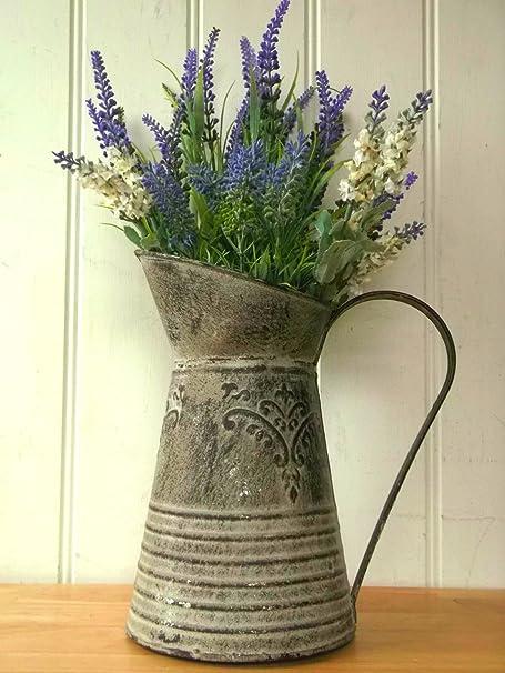 Large Antique French Grey Vintage Style Metal Jug Pitcher Vase