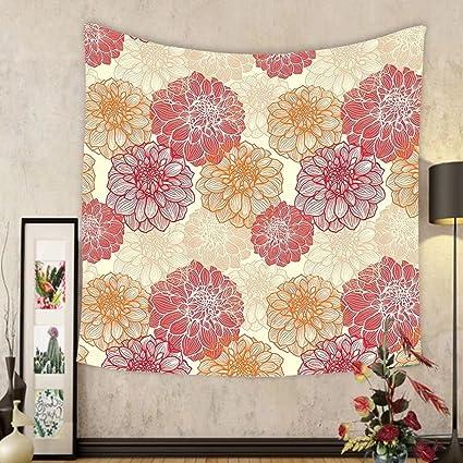 Amazon.com: Gzhihine Custom tapestry Dahlia Flower Decor Tapestry ...