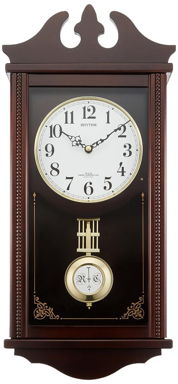 リズム時計 柱 掛け時計 電波 アナログ ペデルセンR 振り子 時報 木 茶 RHYTHM 4MNA03RH06   B00L55E3DE
