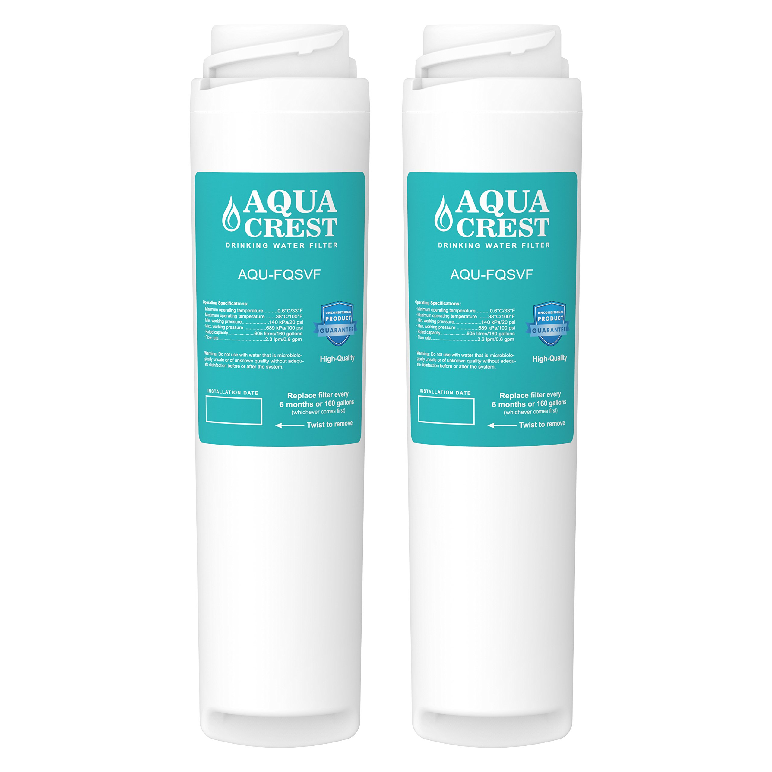 AQUACREST FQSVF Replacement Under Sink Water Filter, Compatible with GE FQSVF, GXSV65R (1 Set)