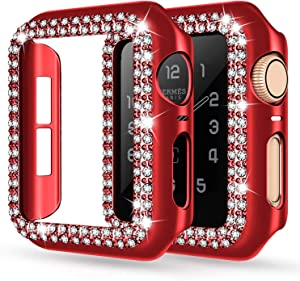 adepoy Apple Watch Case 44mm Series 6/5/4 SE Bling Rhinestone Apple Watch Protective Case Bumper Frame Screen Protector Case Cover for iWatch Series 44mm Red