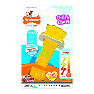 Nylabone Puppy Chew Freezer Dog Toy, Lamb & Apple Flavor, Wolf
