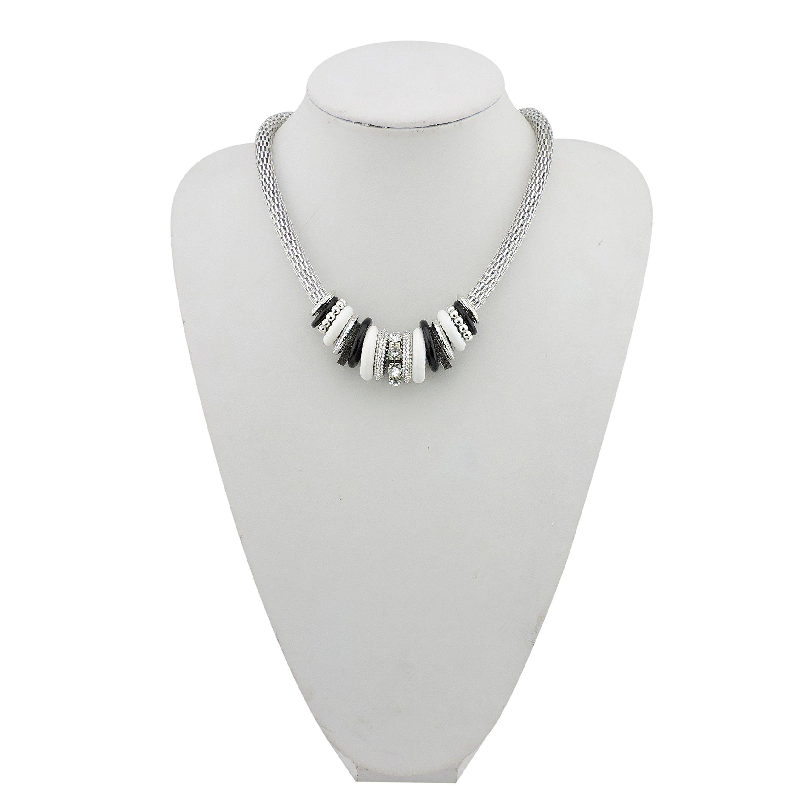 Bocar Fashion Collar Snake Chain Necklace (NK-10492-black+white)