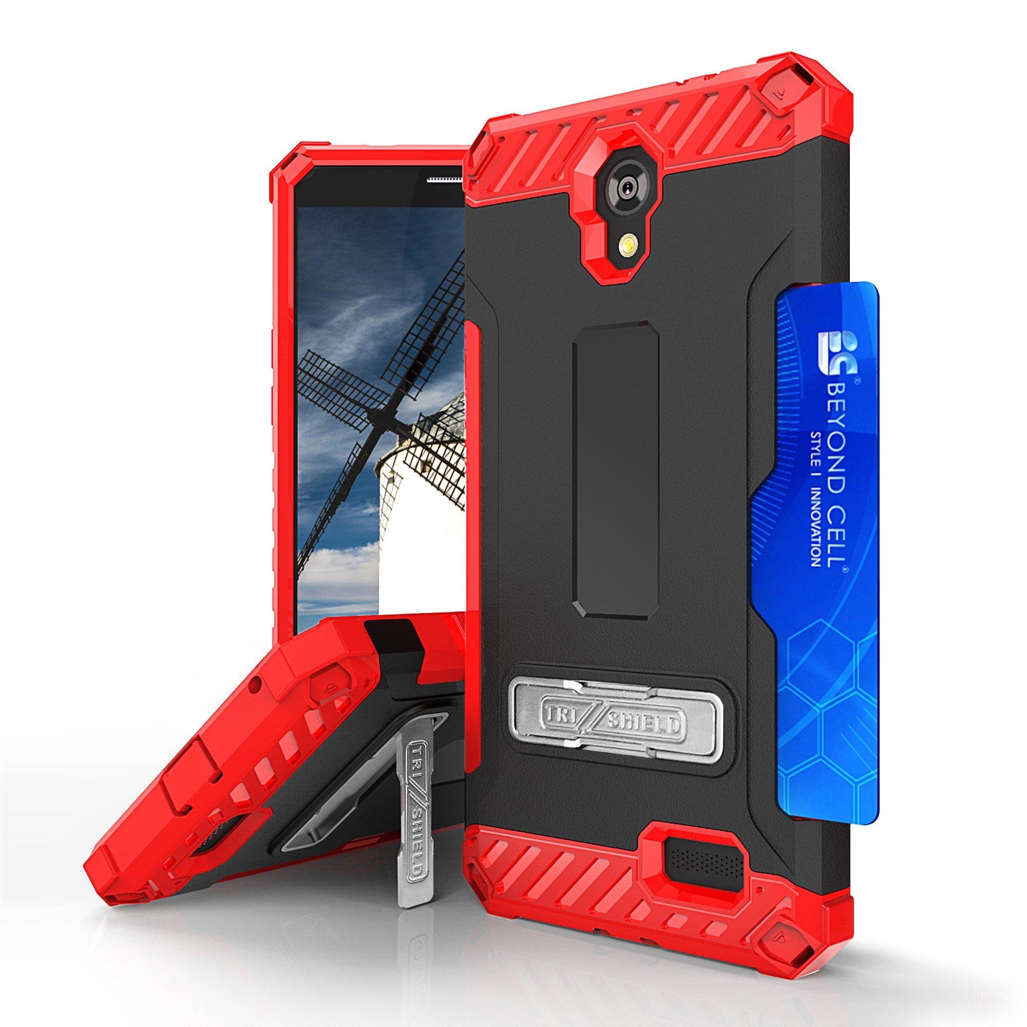 For ZTE PRESTIGE N9132, ZFIVE 2 Z836, AVID TRIO Z833, SONATA 3 Z832, MAVEN 2 Z831, AVID PLUS Z828 TRI-SHIELD RUGGED KICKSTAND CASE + BELT CLIP HOLSTER [CREDIT CARD SLOT & LANYARD] (Red Black)