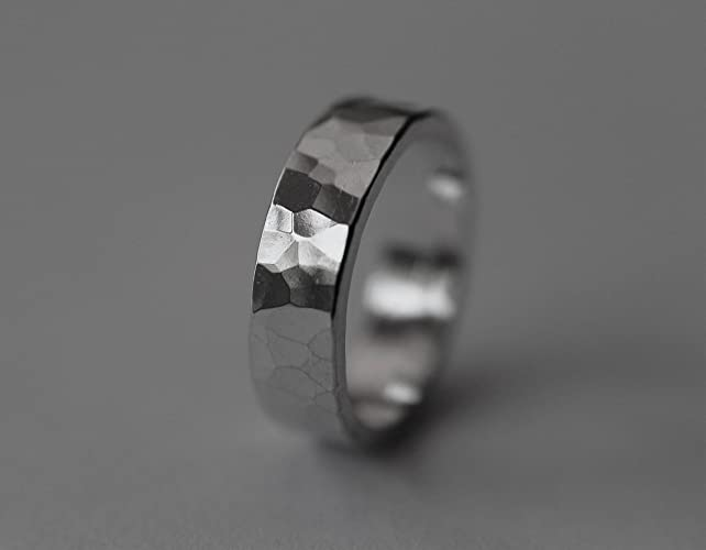 Amazon.com: Hammered Band Ring, Wide Textured Ring, Simple Hammered ...