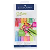 Faber-Castell Gelatos Colors Set, Brights - Water Soluble Pigment Crayons - 15 Bright...