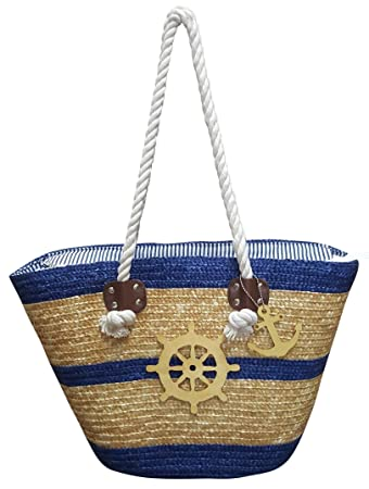d51b96eaf Amazon.com | Beach Bags - Water Resistant Large Straw Beach Bag Tote with Top  Zipper Closure | Travel Totes
