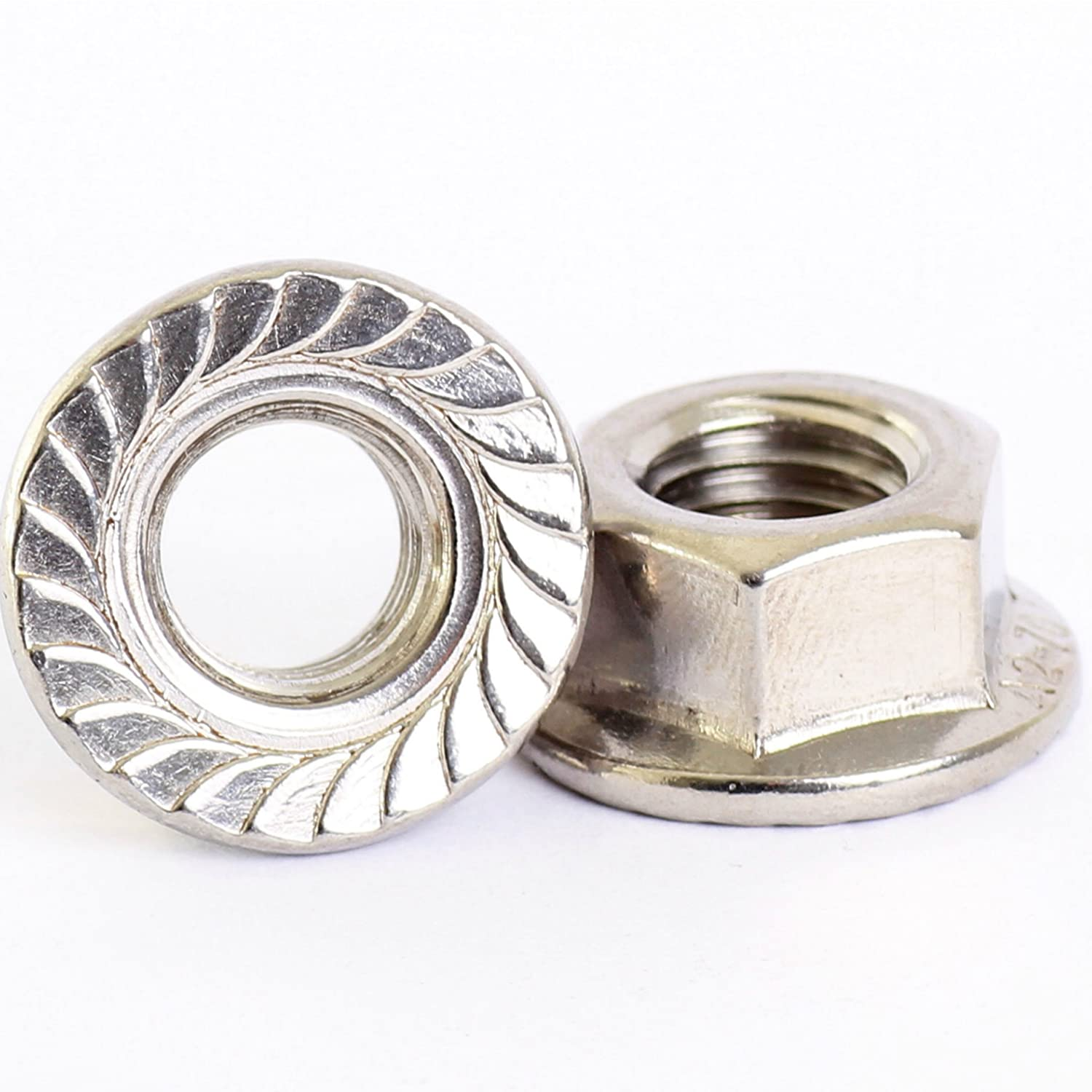 Bolt Base A2 Stainless Steel Hex Serrated Flange Nuts Flanged Nuts M5 X 0.8mm Pitch - 10