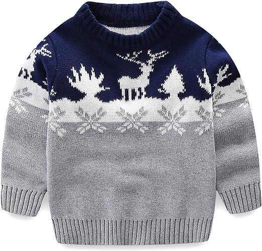 Little Girls Boys Unisex Reindeer Pullover Crewneck Ugly Christmas Sweater