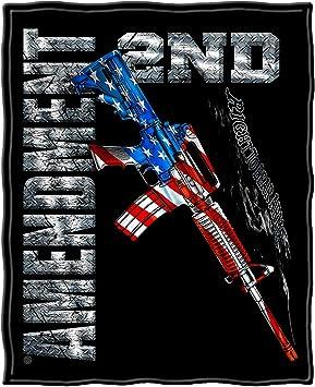 AR15 Second Amendment USA Flag Army Militär Blanket Decke Fleecedecke Tagesdecke