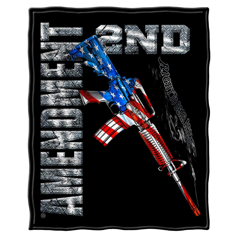 Erazor Bits Throw Blanket for Bed 50 x 60| AR15 Second Amendment Flag Throw Blanket ADD2-RN2193-TB