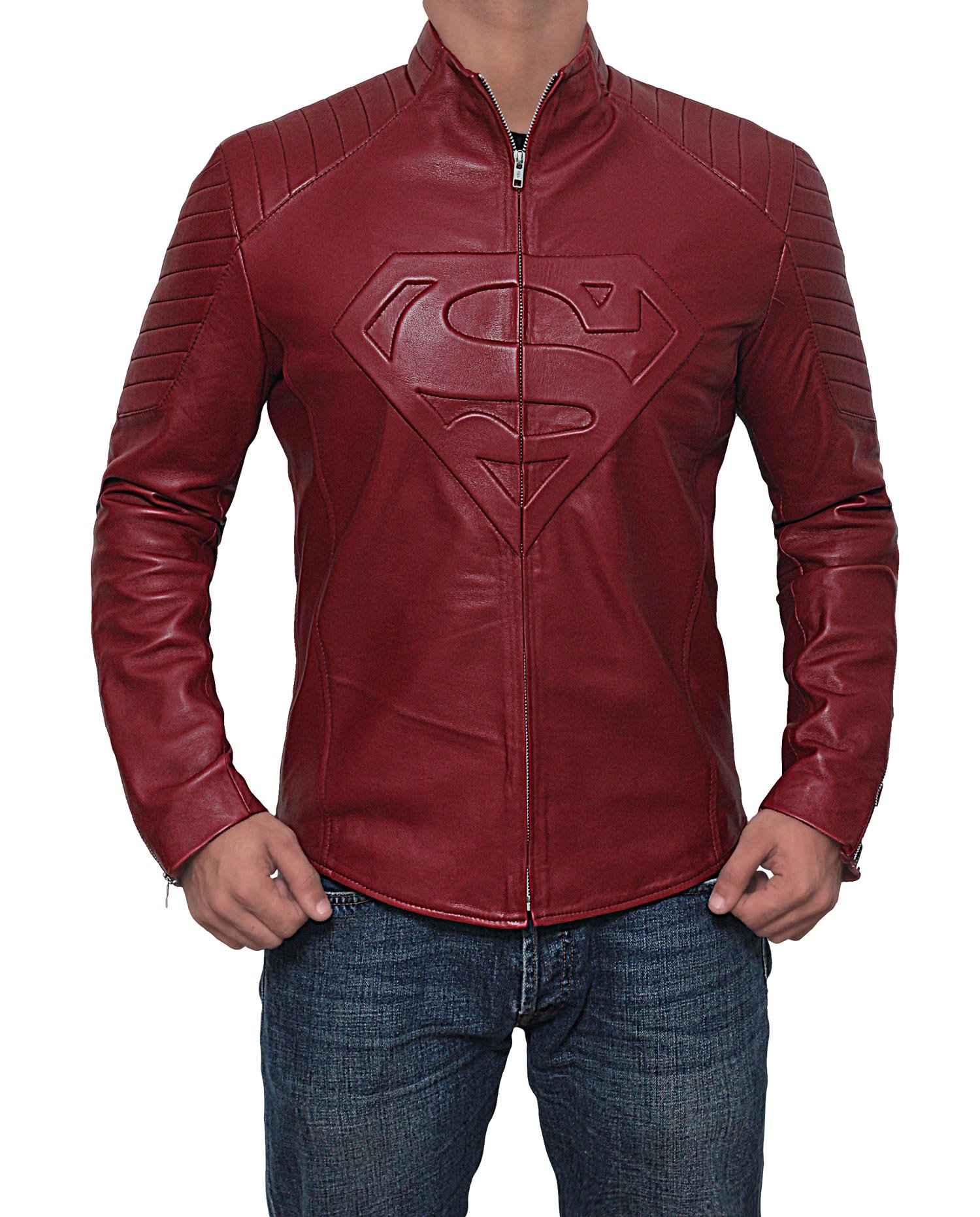 Mens Superman Smallville Red Leather Jacket | Maroon, L
