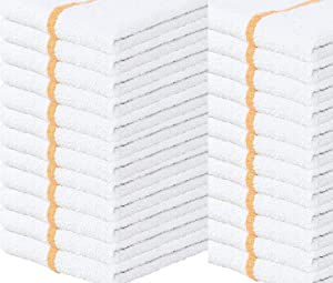 Towels N More 24 Kitchen Cleaning Towels, 16x19 Bar Mop Towels, 31oz Commercial Bar Mop Towels (Gold Stripe)