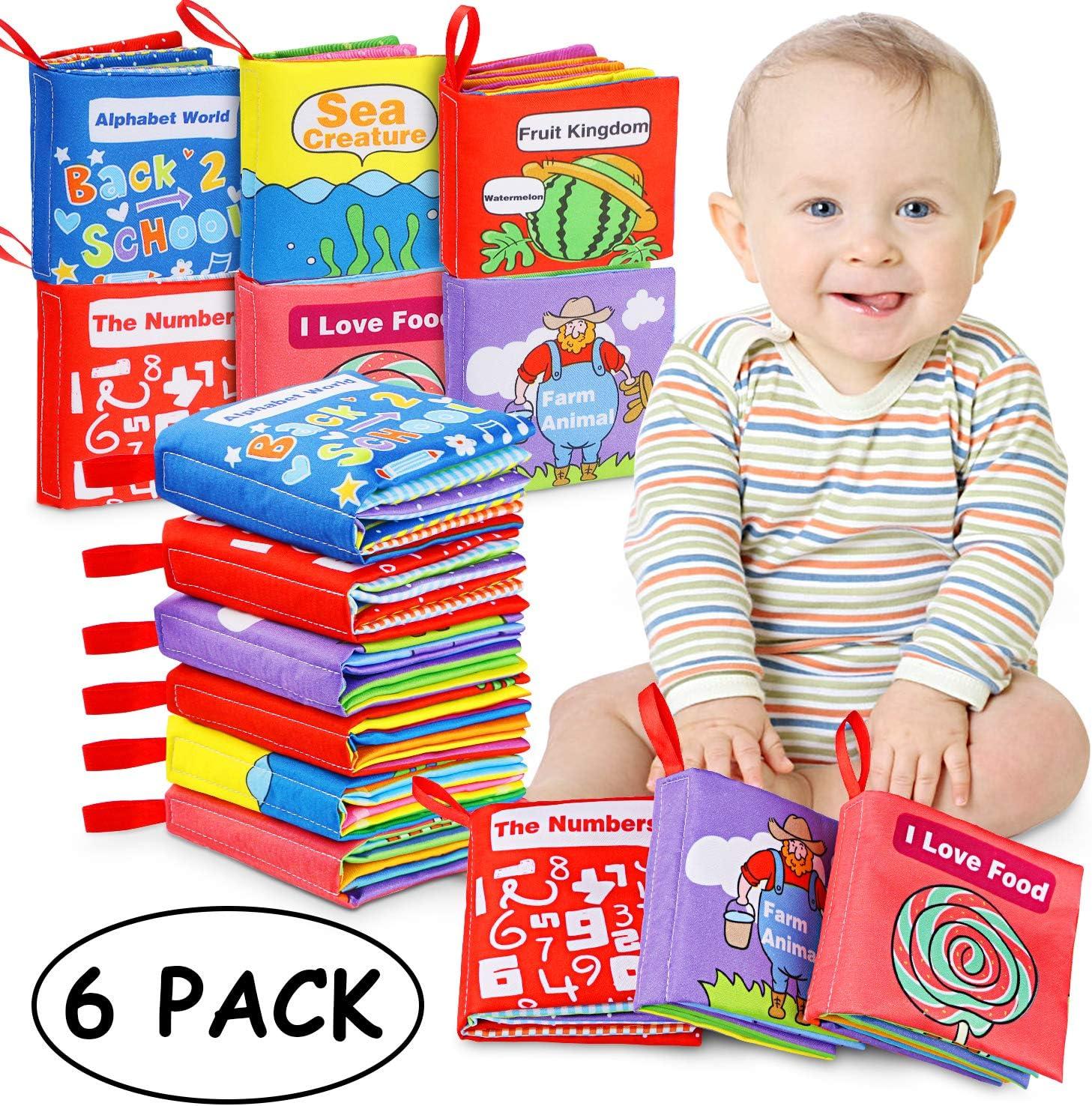 Magicfun Libros Blandos para Bebé, Libro de Tela Bebé Aprendizaje y Educativo Libro para Bebé Recién Nacido Niños 6 Piezas