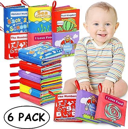 6PCS//Set Soft Cloth Books Rustle Sound Infant Educational Stroller Toy