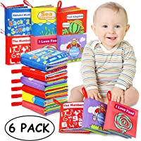 Tencoz Baby Cloth Books, My First Non-Toxic Soft Clothing Books Early Educational Toys Gifts Activity Crinkle Cloth Book for Toddler, Infants, and Kids Perfect for Baby Shower -Pack of 6