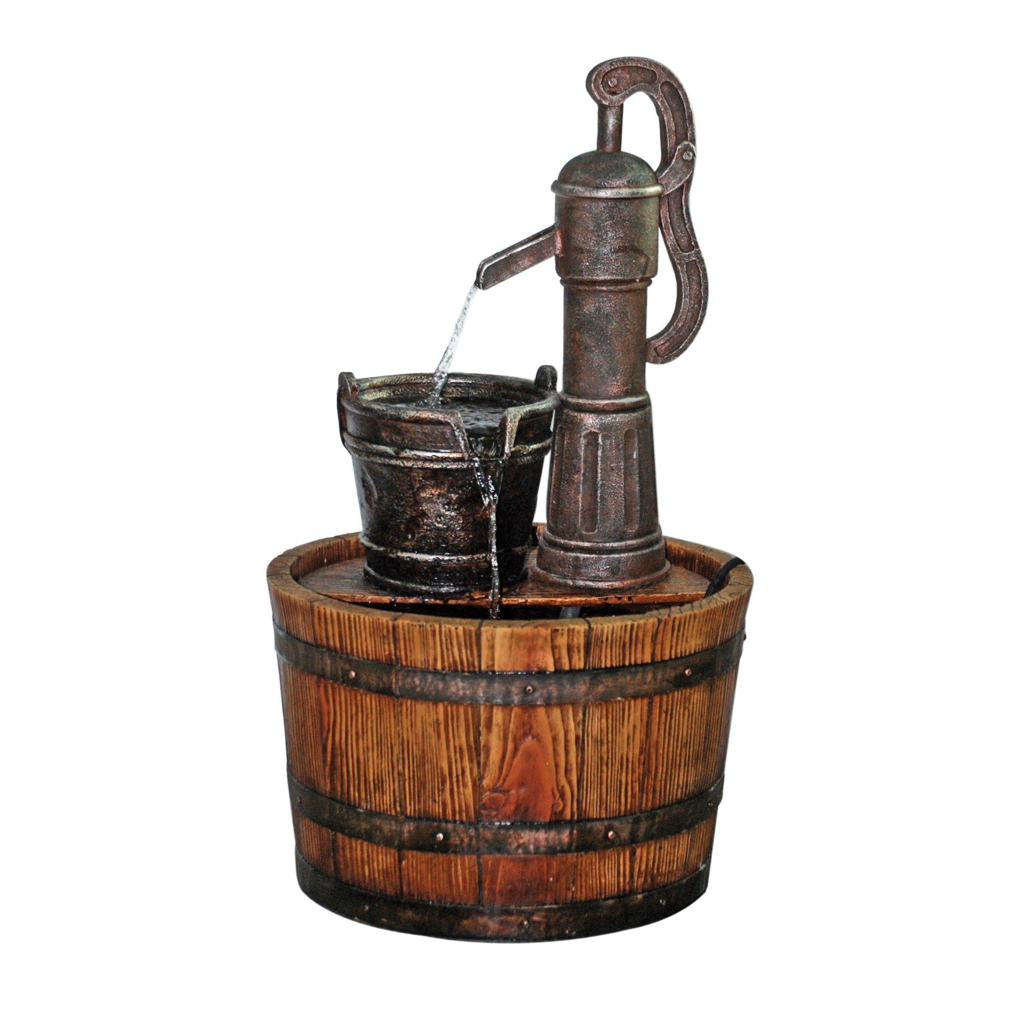 Water Fountain - Cistern Well Pump Wood Barrel Garden Decor Fountain - Outdoor Water Feature