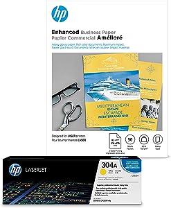 HP 304A Yellow Toner + HP Brochure Paper, Laser, 8.5x11, 50 sheets, Glossy
