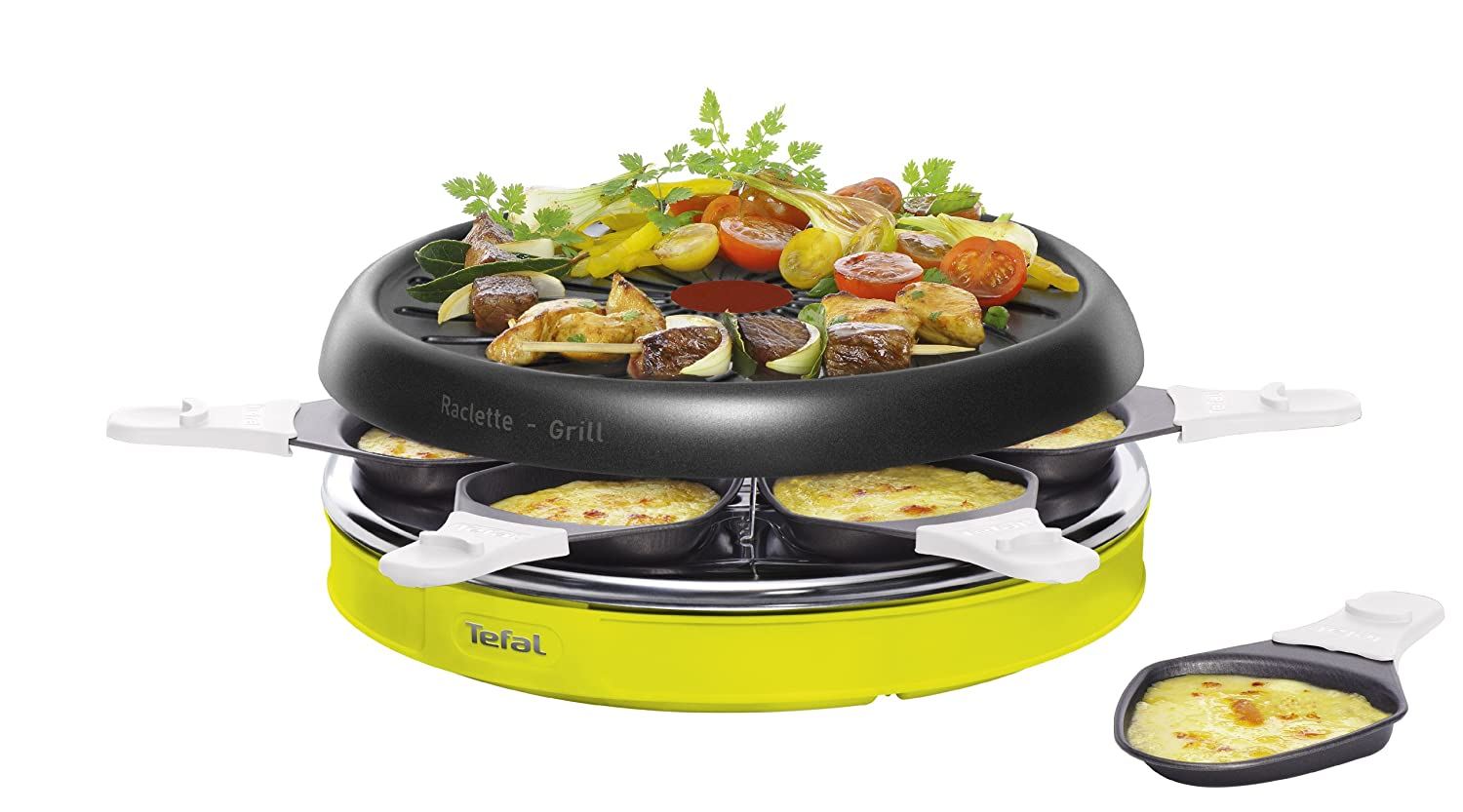 Lime Green Dishwasher-Safe Grill Plate Six Pans with Non-Stick Coating Easy to Clean Tefal Colormania x6 Raclette RE128012