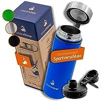 coolrhino roestvrijstalen Drinkfles 500ml / 1l voor wandelen en trekking + 2 Drinkdoppen - BPA-Vrij, Lekvrij, geschikt…