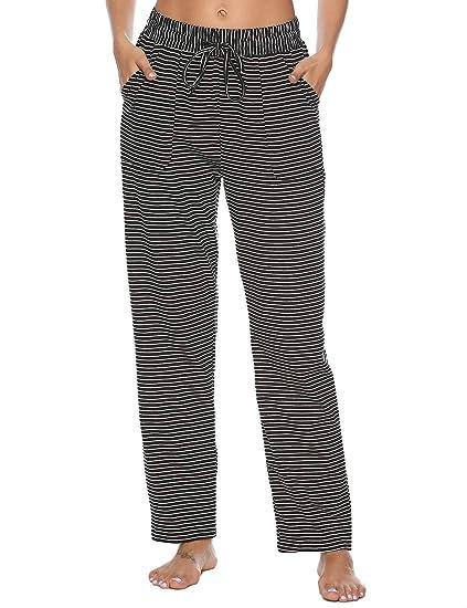 7ac394f2d Aibou 100% Coton de Pyjama Femme Vêtements de Nuit à Carreaux Pantalon  Lounge Pyjama