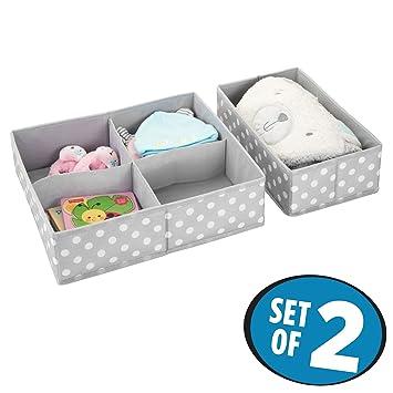 mDesign 2er-Set Aufbewahrungsboxen f/ür das Kinderzimmer hellgrau//wei/ß Bad usw Kinderschrank Organizer aus Kunstfaser Kinderzimmer Aufbewahrungsbox mit vier F/ächern plus einem Fach