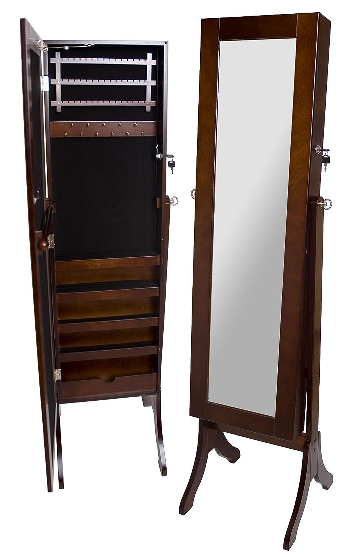 A68089 Wooden Floor Mirror Brown Jewellery Box