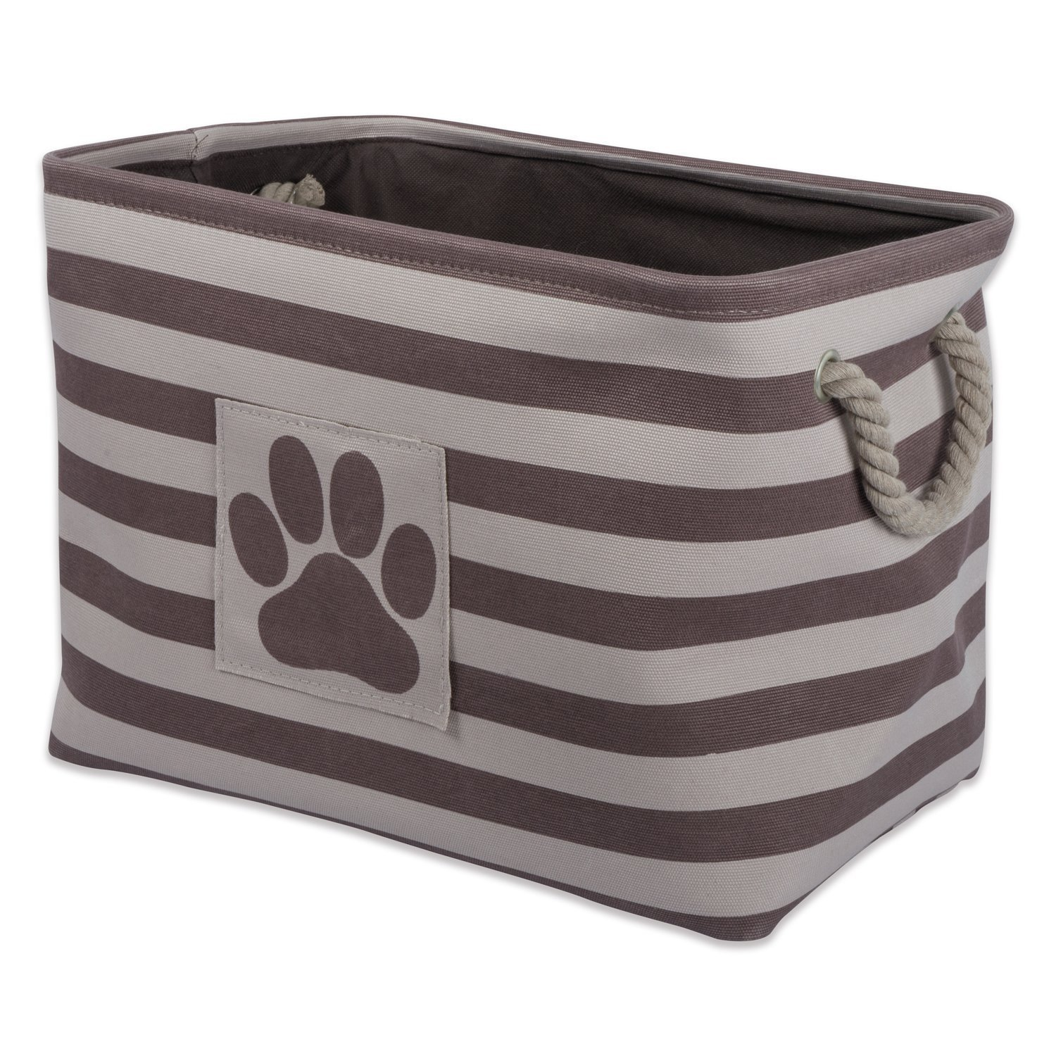 Bone Dry DII Small Rectangle Pet Toy and Accessory Storage Bin, 14x8x9, Collapsible Organizer Storage Basket for Home Décor, Pet Toy, Blankets, Leashes and Food-Brown Stripes