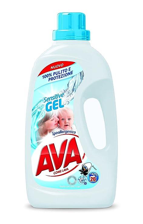 Ava Sensitive Gel - Detergente líquido para lavadora, 1300 ml, 20 ...