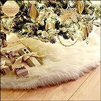 Guwheat Árbol de Navidad Faldas Blanco Lujo Faux