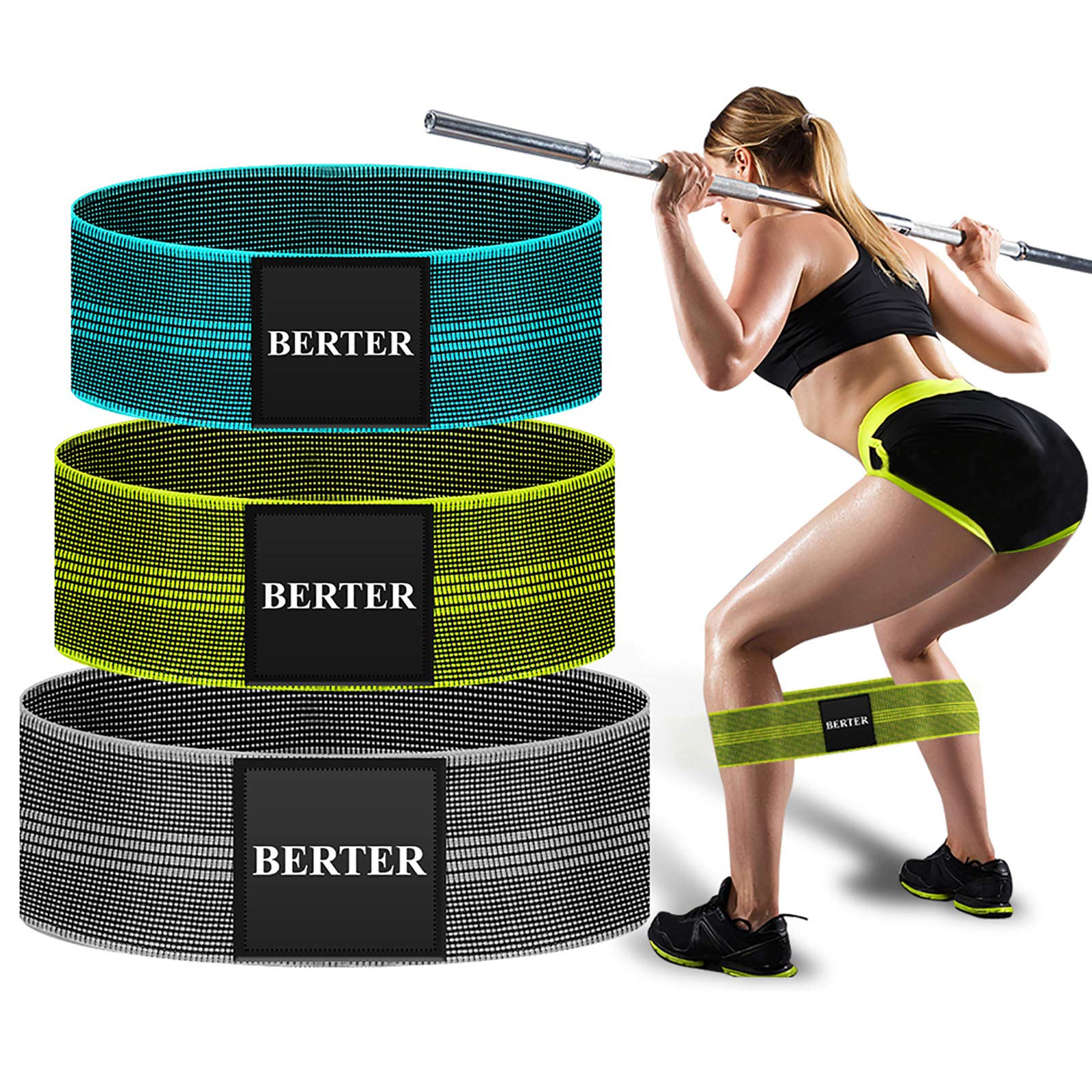 BERTER Resistance Bands for Legs and Butt, Workout Exercise Hip Bands, Fitness Booty Loop Non-Slip Bands for Squats, Deadlifts, Yoga, Sport, Pack of 3