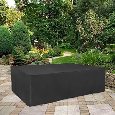 E.enjoy Funda Protectora Muebles Jardín Cubierta Patio Covers impermeable 420D, Mesa de sofá al aire libre Cubiertas Cubo sistema de la cubierta a prueba de viento anti-UV Protección Nieve, fácil de l:
