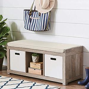 3-Cube Organizer Storage Bench (Rustic Gray) (3-Cube, Rustic Gray)