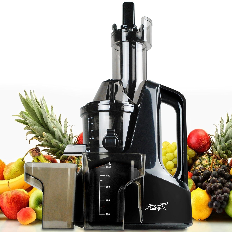 New Age Living SJC-1500 Masticating Slow Juicer | 45 RPM Cold Juicing Speed | Juices Whole Fruits, Vegetables, More | Premium Black Finish SJCNASRWY