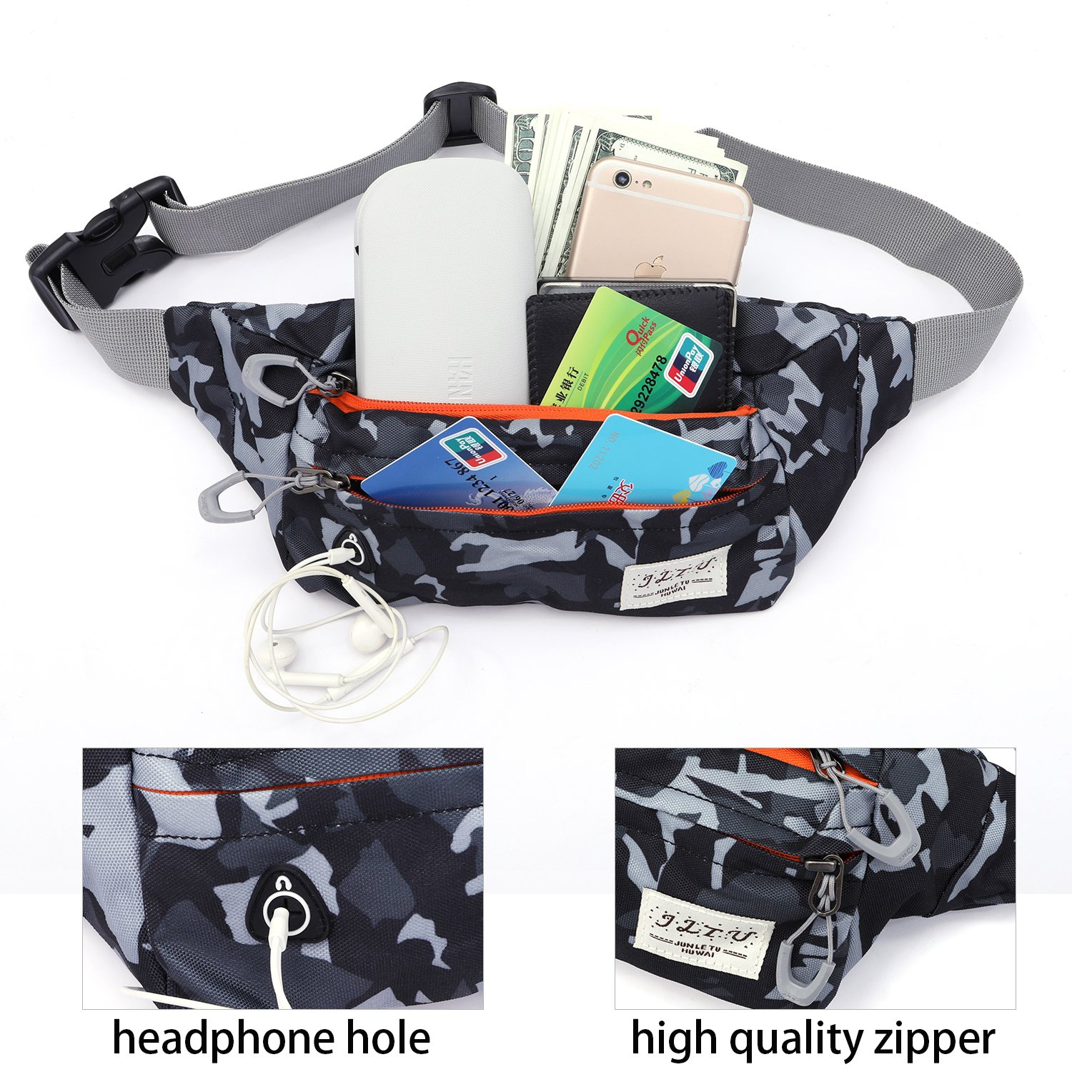 Exercise & Fitness Outdoor Fanny Pack Travel Fanny Bag Waist Pack Sling Pocket Super Lightweight for Travel Cashiers Box Camo Canvas Running Belt Waist Pack Hiking Camping Fishing Waist Bag