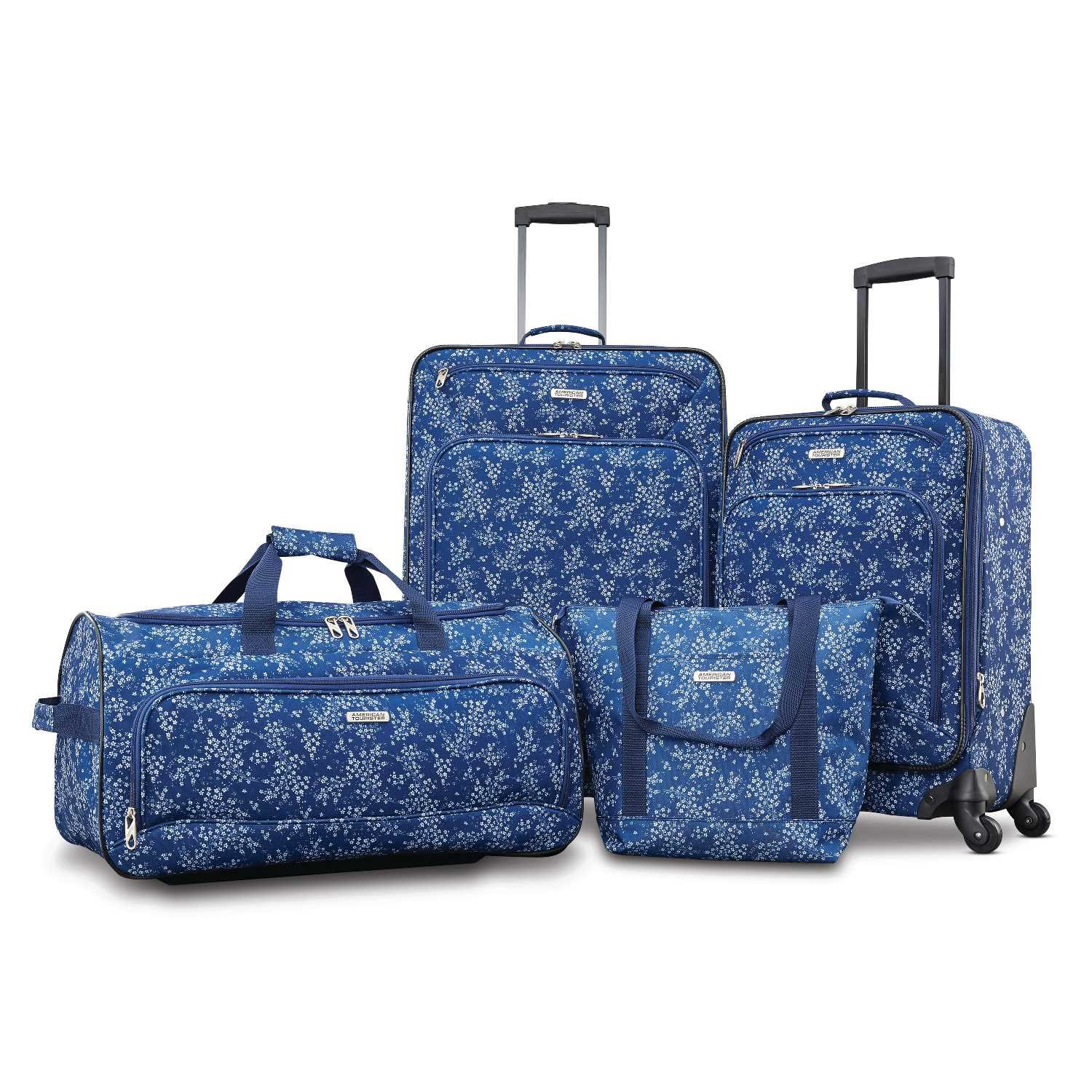 American Tourister Fieldbrook XLT 4pc Set (bb/Wh Dfl/21/25 Spinner), Blue Floral