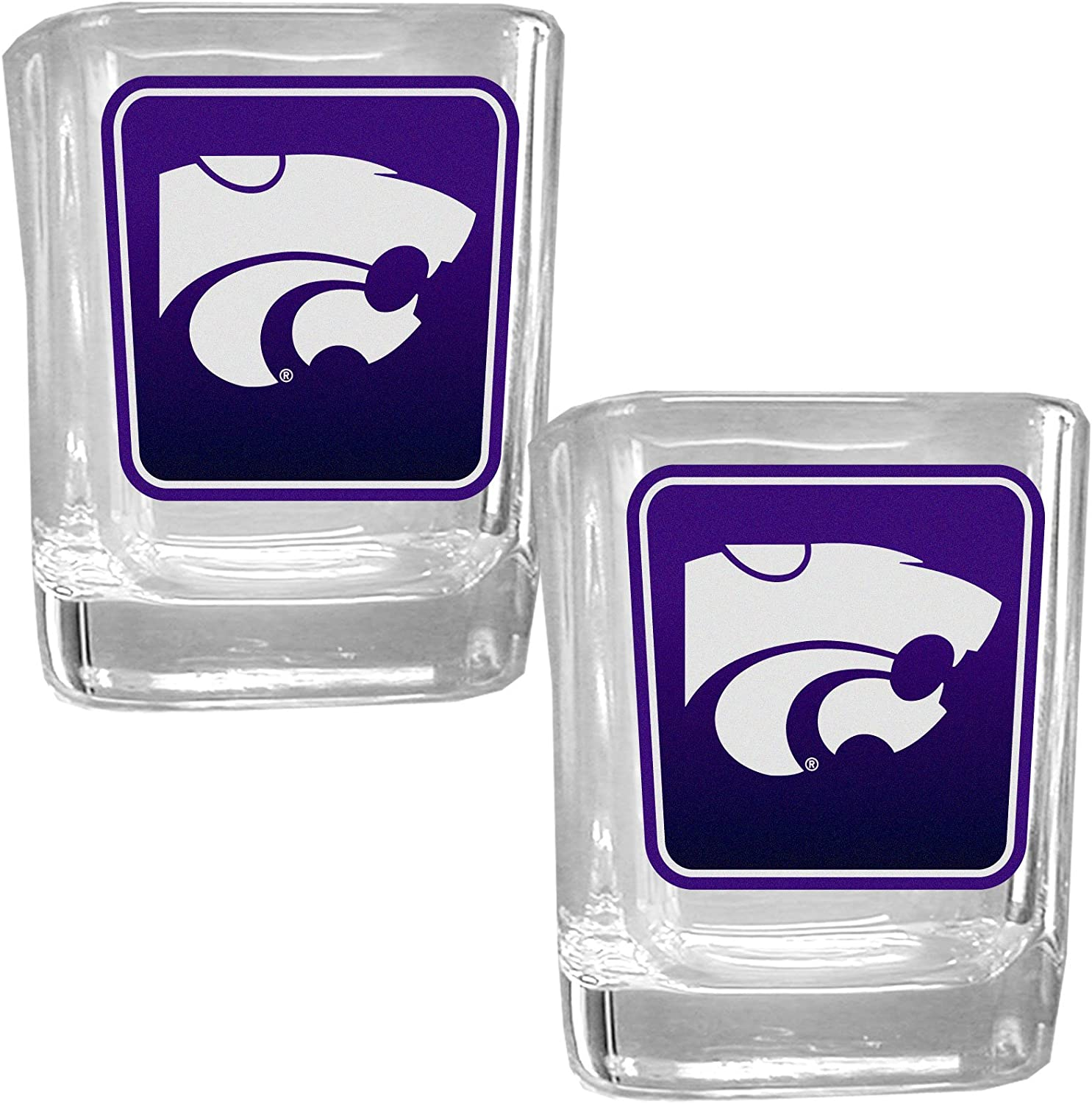 NCAA Siskiyou Sports Fan Shop Kansas State Wildcats Square Glass Shot Glass Set 2 pack Team Color