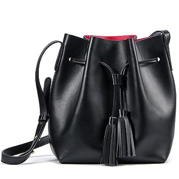 Ladies Girls Soft Real Leather Bucket Tote Handbags Shoulder ...