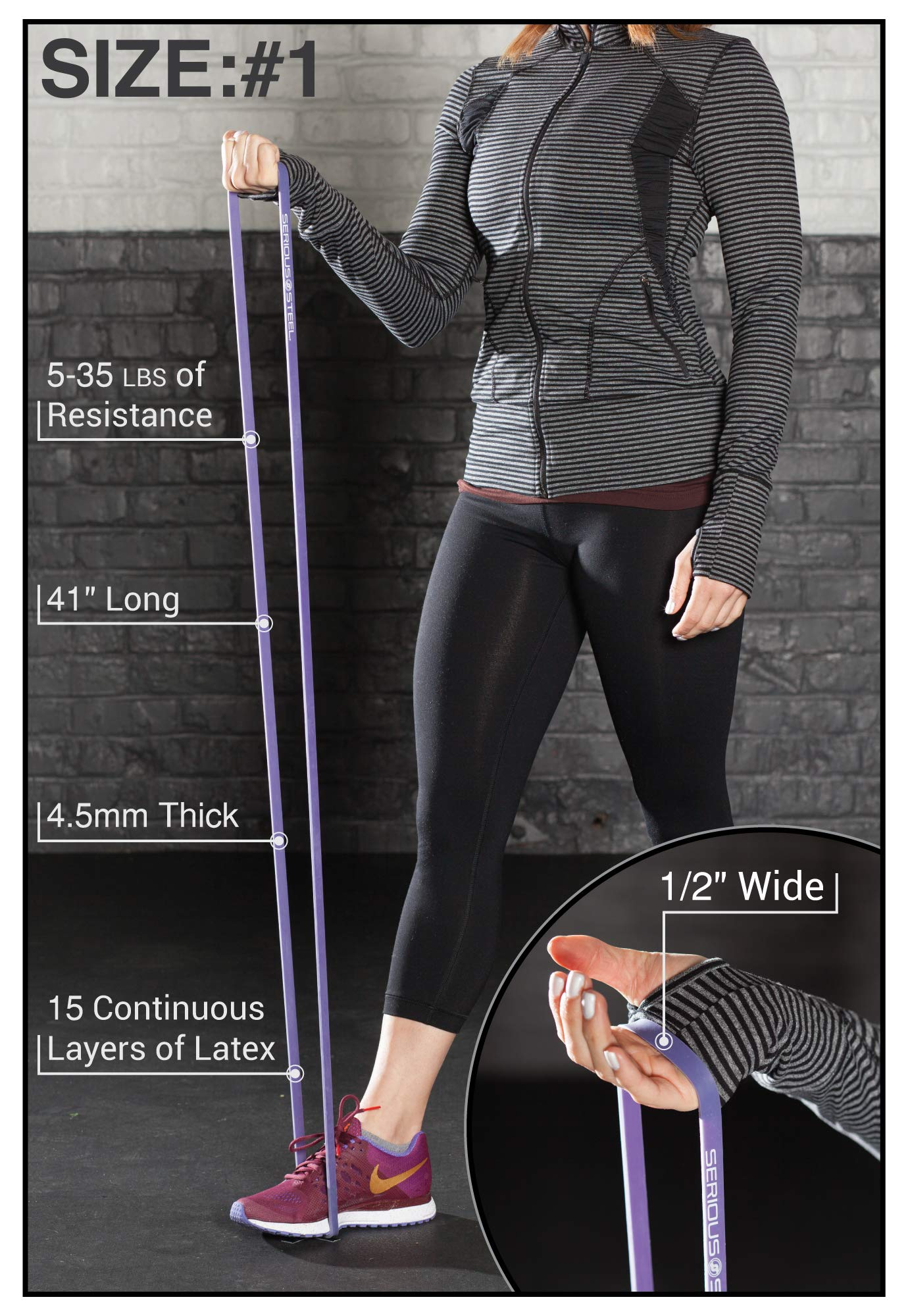 """Purple - #1 Pull-Up Band   Assisted Pull-up Loop Band   Resistance & Stretch Band Size: 1/2"""" x 4.5mm Resistance: 5-35lbs by Serious Steel Fitness (Image #3)"""