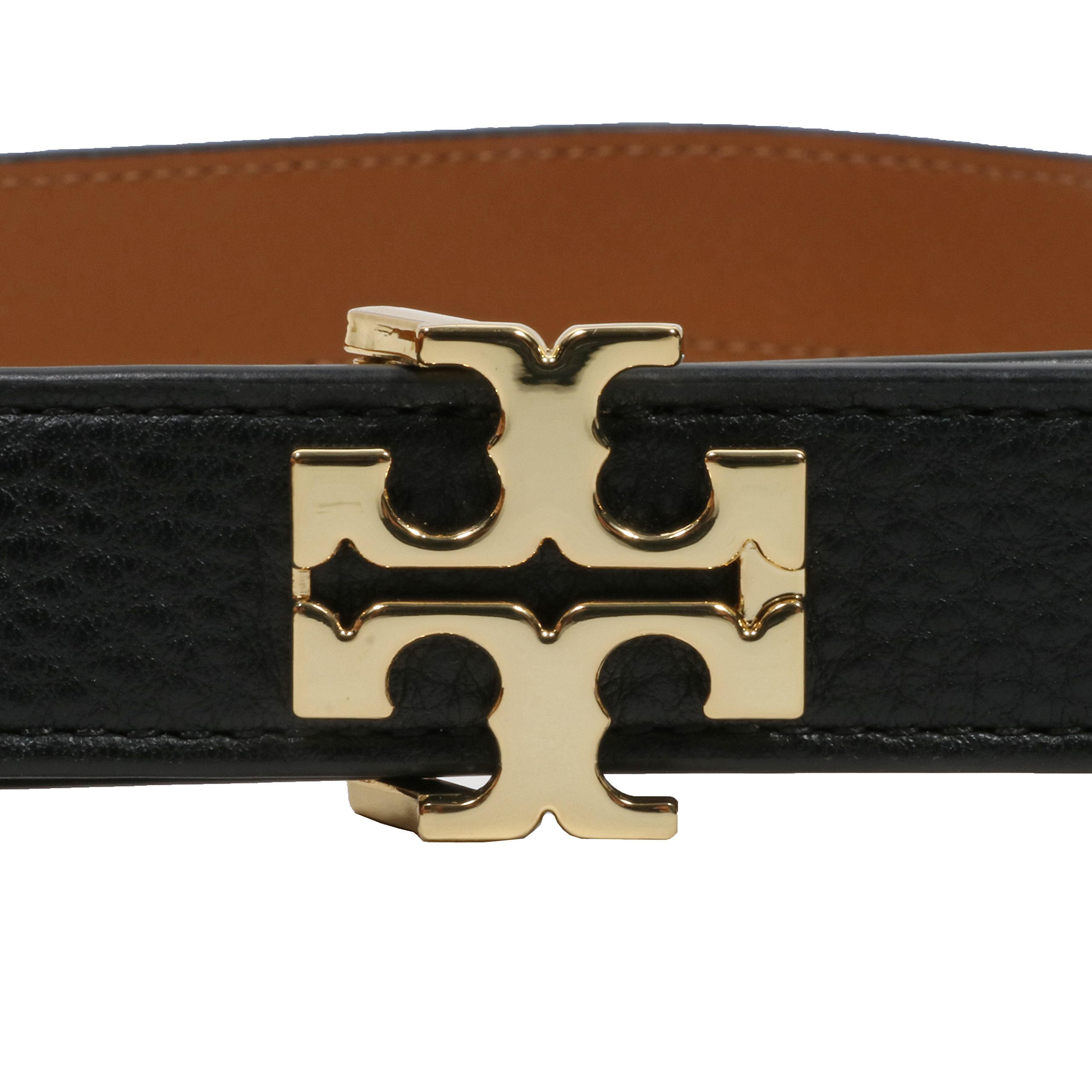Tory Burch Women's 1'' Genuine Leather Square Logo Buckle Belt Black Brown (Large)