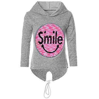 3cdd536b7b BEZLIT Mädchen Kapuzen Pullover Pulli Wende-Pailletten Sweatshirt Hoodie  21544 Grau Größe 116