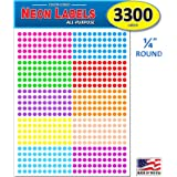 "Pack of 3300 1/4"" Round Color Coding Circle Dot Labels, 10 Bright Neon Colors, 8 1/2"" x 11"" Sheet, 0.25 in."