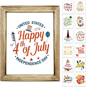 Farmhouse Wall Decor Signs With 12 Interchangeable Sayings, 4th Of July Decorations, Perfect For Spring and Summer Decorations, Easy To Hang 11x14