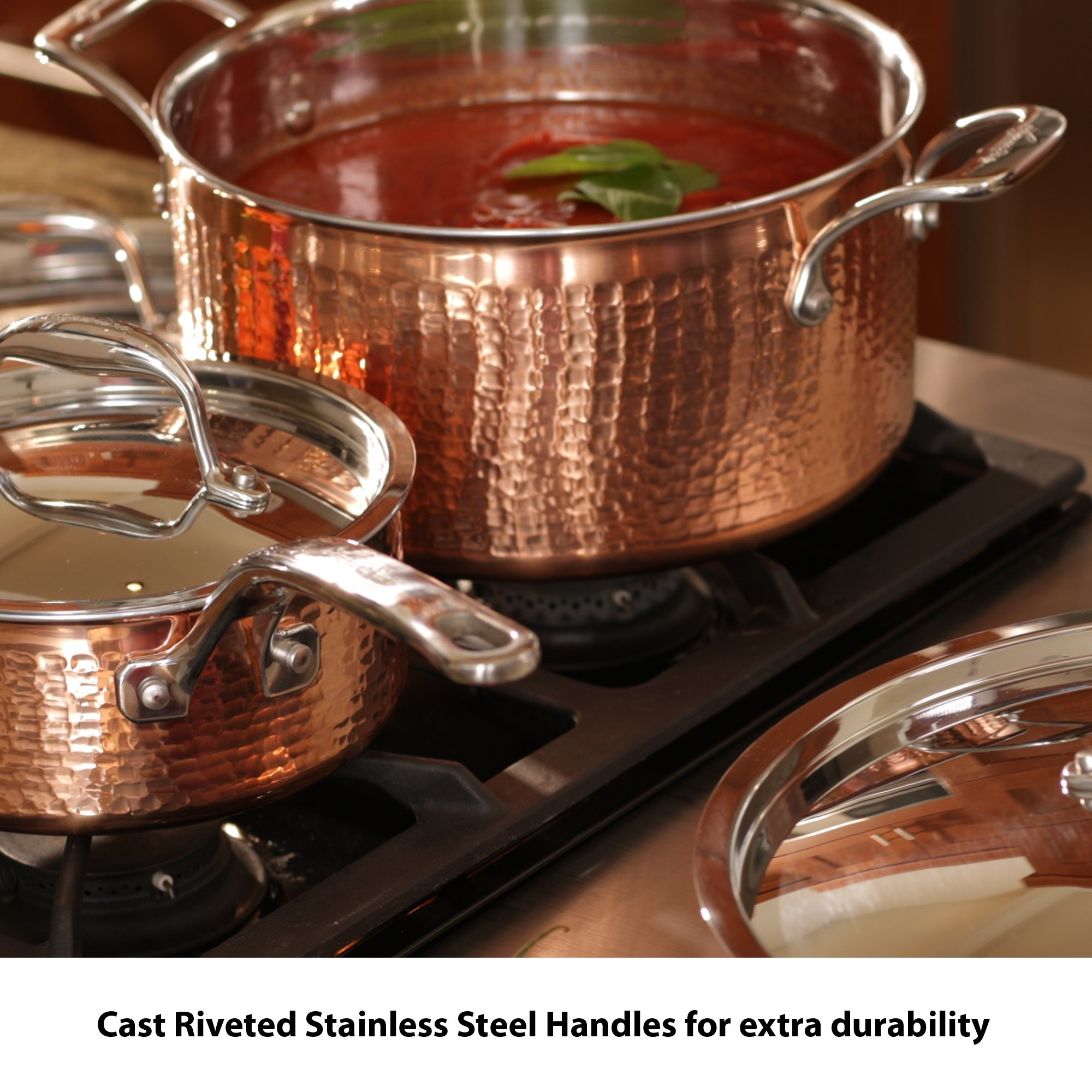 Lagostina Q554SA64 Martellata Tri-ply Hammered Stainless Steel Copper Oven Safe Cookware Set, 10-Piece, Copper by Lagostina (Image #6)