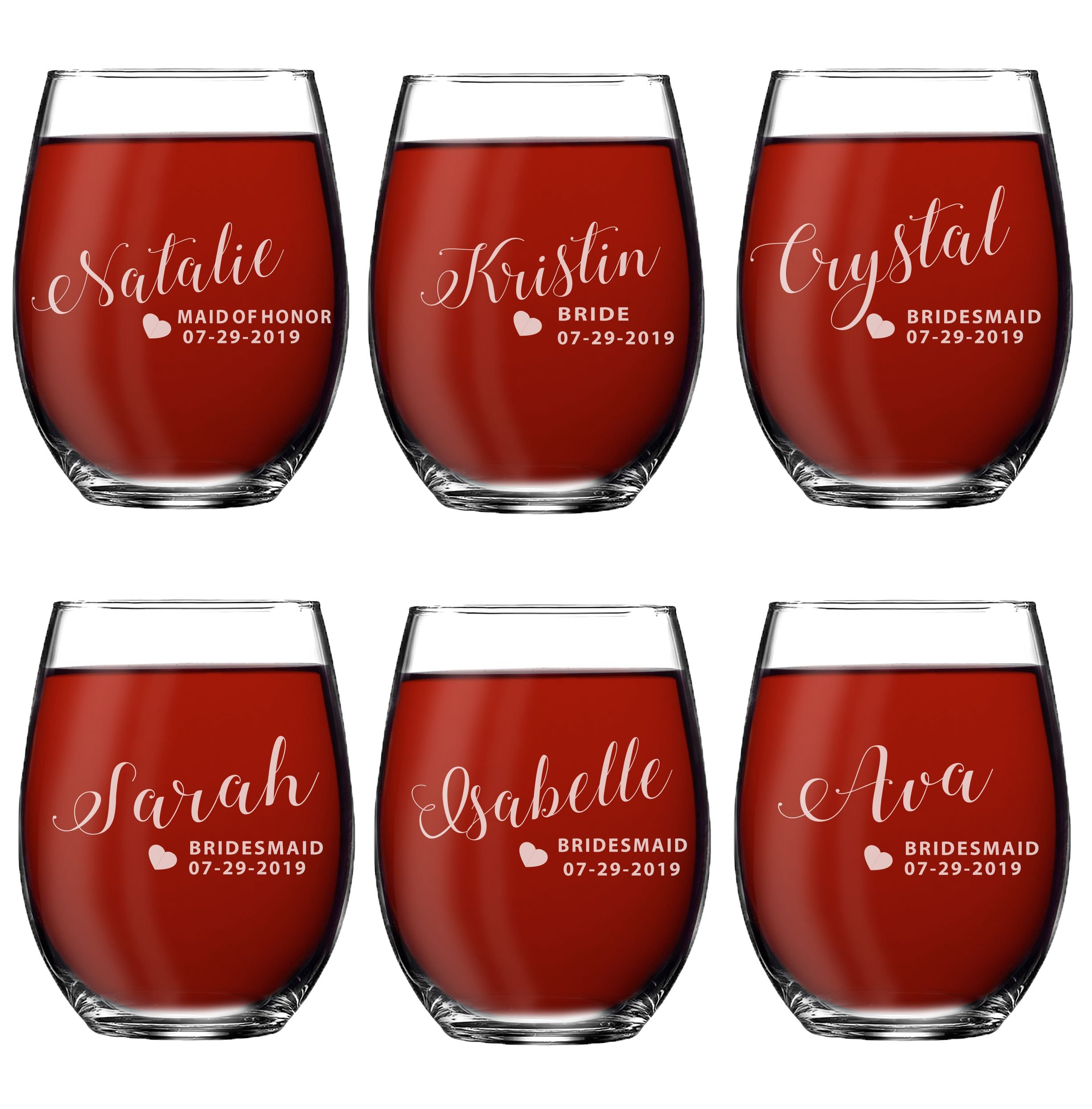 Set of 1, 2, 3, 4, 5, 6, 7, 8 Custom Engraved Bridesmaid Gifts - Personalized Stemless Wine Glasses - Passion Style (6)