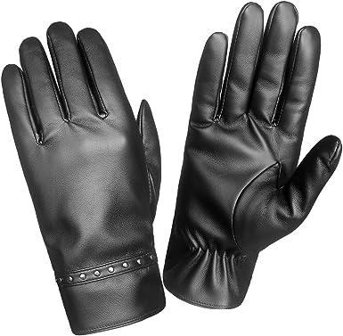 new hot 2018 women smart touch gloves black leather medium autumn winter