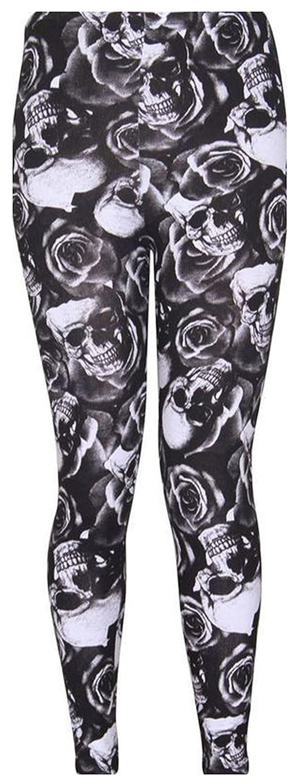 Fashion Union Womens Rose Skull Print Stretchy Leggings (L-UK(12-14), Black)